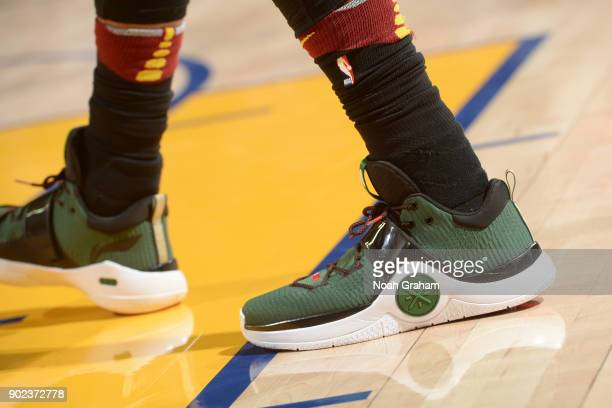 the sneakers worn by Dwyane Wade of the Cleveland Cavaliers are seen during the game against the Golden State Warriors on December 25 2017 at ORACLE...