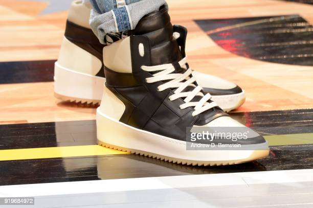 the sneakers worn by Dwyane Wade of the Miami Heat are seen during the Taco Bell Skills Challenge during State Farm AllStar Saturday Night as part of...