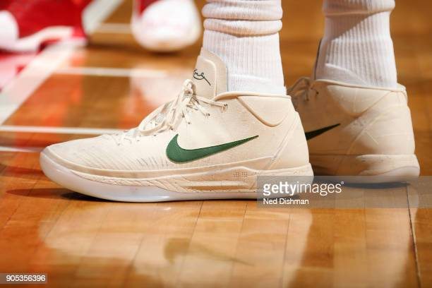 the sneakers worn by Giannis Antetokounmpo of the Milwaukee Bucks are seen during the game against the Washington Wizards on January 15 2018 at...