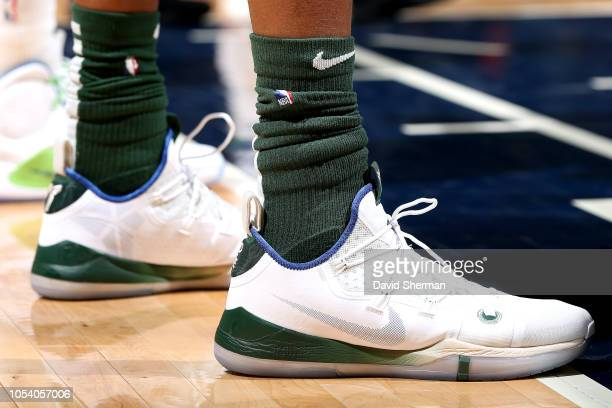 95bc9e3f9b49 The sneakers worn by Giannis Antetokounmpo of the Milwaukee Bucks against  the Minnesota Timberwolves on October