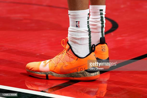 The sneakers worn by Giannis Antetokounmpo of the Milwaukee Bucks during the game against the Chicago Bulls on February 11 2019 at the United Center...