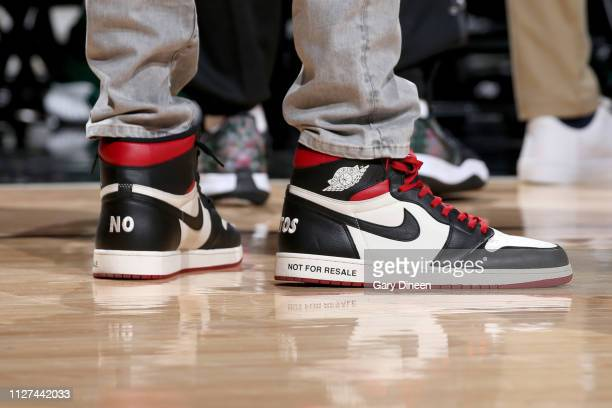 The sneakers worn by Giannis Antetokounmpo of the Milwaukee Bucks during the game against the Chicago Bulls on February 25 2019 at the United Center...