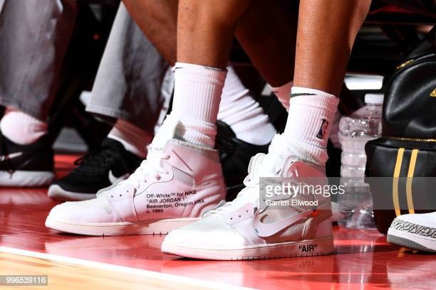 the sneakers worn by Giannis Antetokounmpo of the the Milwaukee Bucks are seen during the game between the the Chicago Bulls and the Dallas Mavericks...