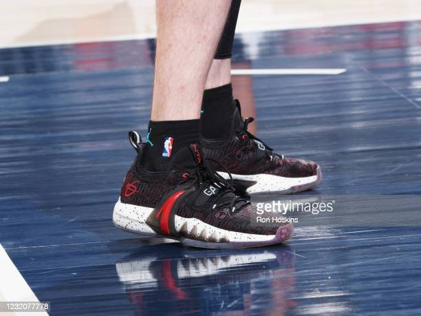 The sneakers worn by Gordon Hayward of the Charlotte Hornets during the game against the Indiana Pacers on April 2, 2021 at Bankers Life Fieldhouse...