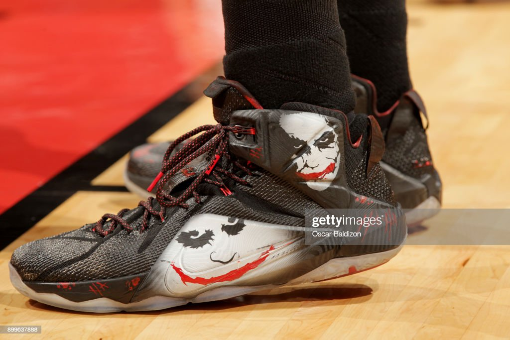 the sneakers worn by Hassan Whiteside #21 of the Miami Heat are seen during the game against the Brooklyn Nets at the American Airlines Arena on December 29, 2017 in Miami Florida.