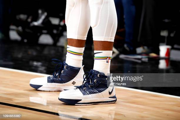The sneakers worn by Ian Clark of the New Orleans Pelicans against the Chicago Bulls on February 6 2019 at United Center in Chicago Illinois NOTE TO...