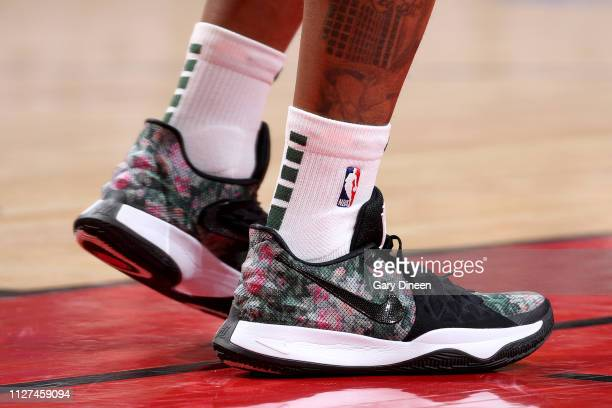 The sneakers worn by Isaiah Canaan of the Milwaukee Bucks during the game against the Chicago Bulls on February 25 2019 at the United Center in...