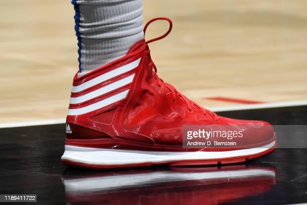 The sneakers worn by Ivica Zubac of the LA Clippers during the game against the Phoenix Suns on December 17 2019 at STAPLES Center in Los Angeles...