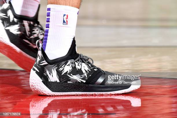 The sneakers worn by Ivica Zubac of the Los Angeles Lakers against the Portland Trail Blazers on November 3 2018 at Moda Center in Portland Oregon...