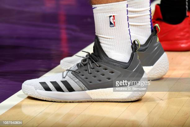 The sneakers worn by Ivica Zubac of the Los Angeles Lakers against the Toronto Raptors on November 4 2018 at Staples Center in Los Angeles California...