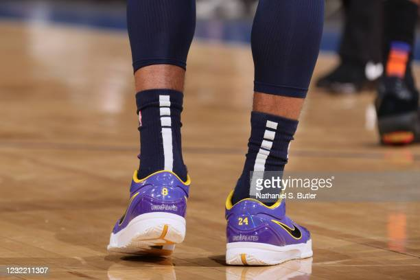 The sneakers worn by Ja Morant of the Memphis Grizzlies during the game against the New York Knicks on April 9, 2021 at Madison Square Garden in New...