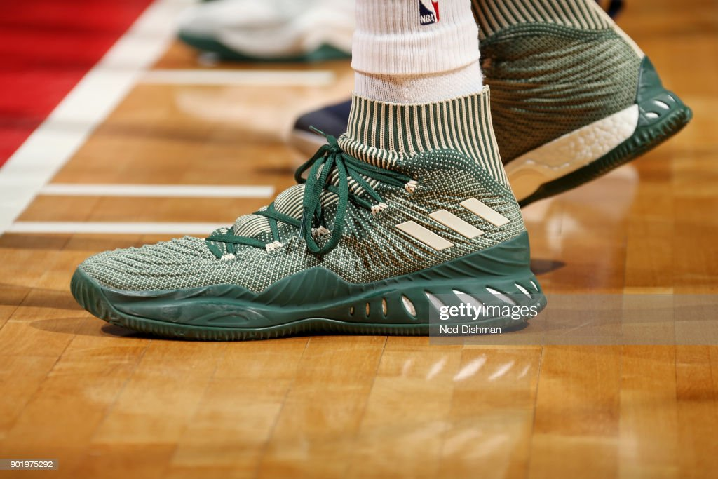 the sneakers worn by Jabari Parker #12 of the Milwaukee Bucks are seen during the game against the Washington Wizards on January 6, 2018 at Capital One Arena in Washington, DC.