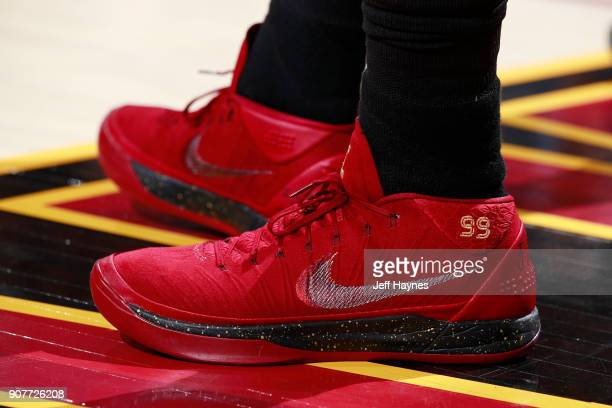 the sneakers worn by Jae Crowder of the Cleveland Cavaliers are seen during the game against the Oklahoma City Thunder on January 20 2018 at Quicken...