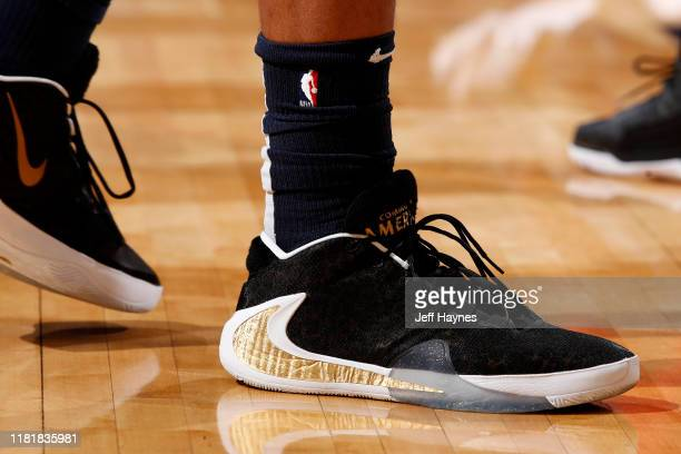 The sneakers worn by Jahlil Okafor of the New Orleans Pelicans during the game against the Houston Rockets on November 11 2019 at the Smoothie King...