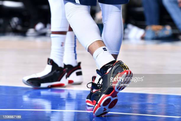 The sneakers worn by Jamal Murray of the Denver Nuggets against the Dallas Mavericks on March 11 2020 at the American Airlines Center in Dallas Texas...