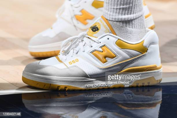 The sneakers worn by Jamal Murray of the Denver Nuggets against the Phoenix Suns during Round 2, Game 3 of the 2021 NBA Playoffs on June 11, 2021 at...