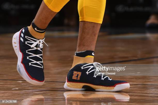 the sneakers worn by Jamal Murray of the Denver Nuggets are seen during the game against the Dallas Maverickson January 27 2018 at the Pepsi Center...