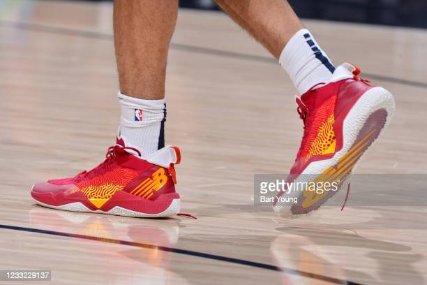 The sneakers worn by Jamal Murray of the Denver Nuggets before the game against the Portland Trail Blazers during Round 1, Game 5 of the 2021 NBA...