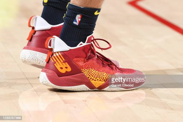 The sneakers worn by Jamal Murray of the Denver Nuggets before the game against the Portland Trail Blazers during Round 1, Game 6 of the 2021 NBA...