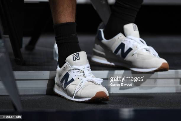 The sneakers worn by Jamal Murray of the Denver Nuggets during Round 1, Game 2 of the NBA 2021 Playoffs on May 24, 2021 at the Ball Arena in Denver,...
