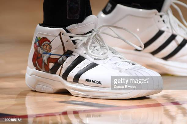 The sneakers worn by Jamal Murray of the Denver Nuggets during the game against the New Orleans Pelicans on December 25 2019 at the Pepsi Center in...