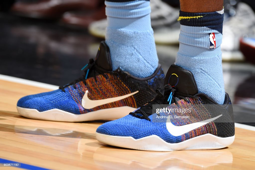 the sneakers worn by James Ennis III #8 of the Memphis Grizzlies are seen during the game against the LA Clippers on January 2, 2018 at STAPLES Center in Los Angeles, California.