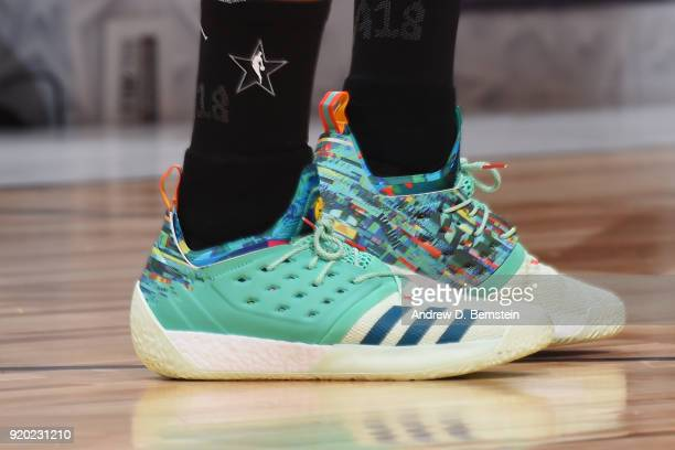 the sneakers worn by James Harden Of Team LeBron are seen during the NBA AllStar Game as a part of 2018 NBA AllStar Weekend at STAPLES Center on...