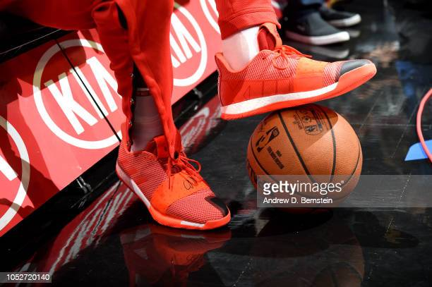 The sneakers worn by James Harden of the Houston Rockets against the LA Clippers on October 21 2018 at Staples Center in Los Angeles California NOTE...