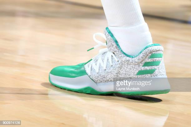 the sneakers worn by James Harden of the Houston Rockets are seen during the game against the Oklahoma City Thunder on December 25 2017 at Chesapeake...