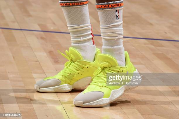 The sneakers worn by James Harden of the Houston Rockets during the game against the LA Clippers on December 19 2019 at STAPLES Center in Los Angeles...