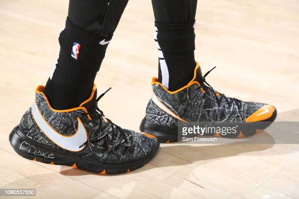 The sneakers worn by Jayson Tatum of the Boston Celtics against the Portland Trail Blazers on November 11 2018 at the Moda Center in Portland Oregon...