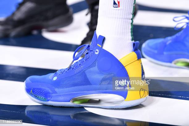 The sneakers worn by Jayson Tatum of the Boston Celtics against the Dallas Mavericks on December 18 2019 at the American Airlines Center in Dallas...