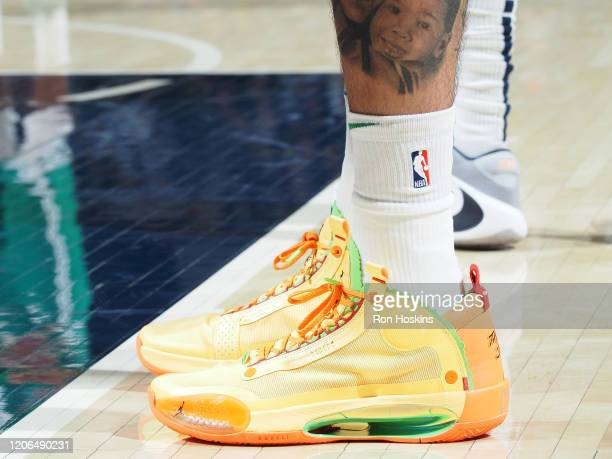 The sneakers worn by Jayson Tatum of the Boston Celtics against the Indiana Pacers on March 10 2020 at Bankers Life Fieldhouse in Indianapolis...