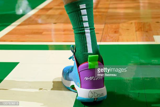 The sneakers worn by Jayson Tatum of the Boston Celtics during the game against the Oklahoma City Thunder on March 8 2020 at the TD Garden in Boston...