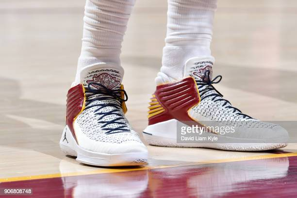 the sneakers worn by Jeff Green of the Cleveland Cavaliers are seen during the game against the Orlando Magic on January 18 2018 at Quicken Loans...