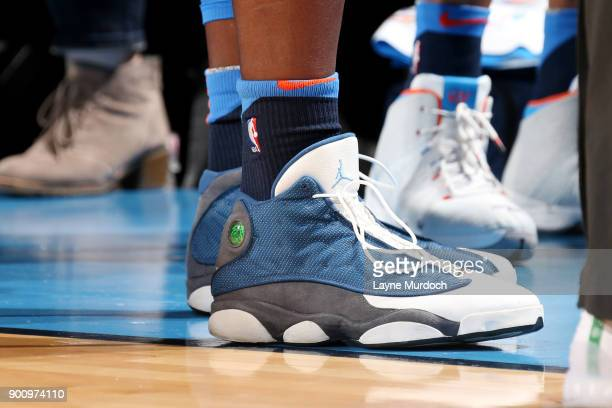 the sneakers worn by Jerami Grant of the Oklahoma City Thunder are seen during the game against the Houston Rockets on December 25 2017 at Chesapeake...