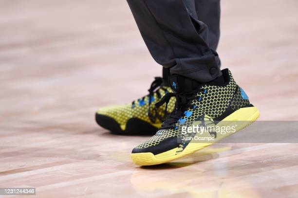 The sneakers worn by Jeremy Lin of the Santa Cruz Warriors before the game against the Fort Wayne Mad Ants on February 18, 2021 at AdventHealth Arena...