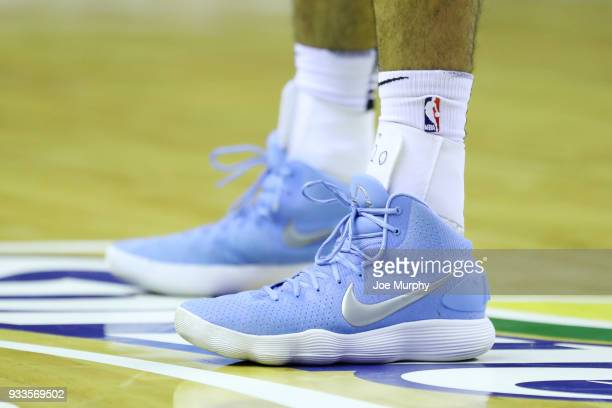 the sneakers worn by Jeremy Morgan of the Memphis Hustle are seen against the Santa Cruz Warriors during an NBA GLeague game on March 10 2018 at...
