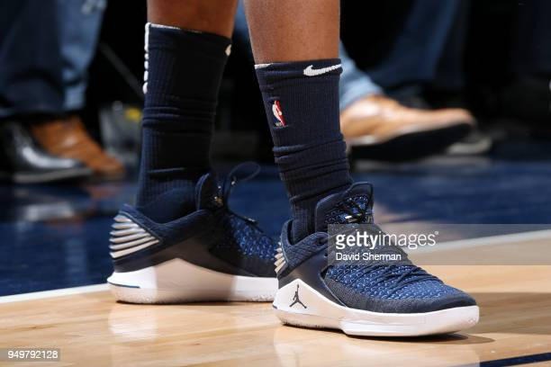 the sneakers worn by Jimmy Butler of the Minnesota Timberwolves are seen during Game Three of Round One of the 2018 NBA Playoffs against the Houston...