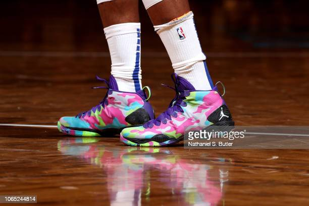The sneakers worn by Jimmy Butler of the Philadelphia 76ers against the Brooklyn Nets on November 25 2018 at Barclays Center in Brooklyn New York...