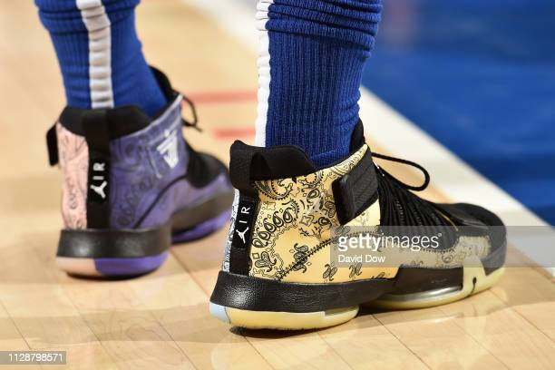 The sneakers worn by Jimmy Butler of the Philadelphia 76ers against the Orlando Magic on March 5 2019 at the Wells Fargo Center in Philadelphia...
