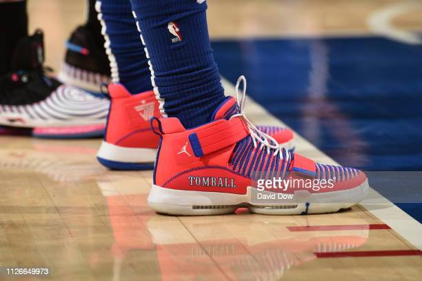 The sneakers worn by Jimmy Butler of the Philadelphia 76ers during the game against the Miami Heat on February 21 2019 at the Wells Fargo Center in...