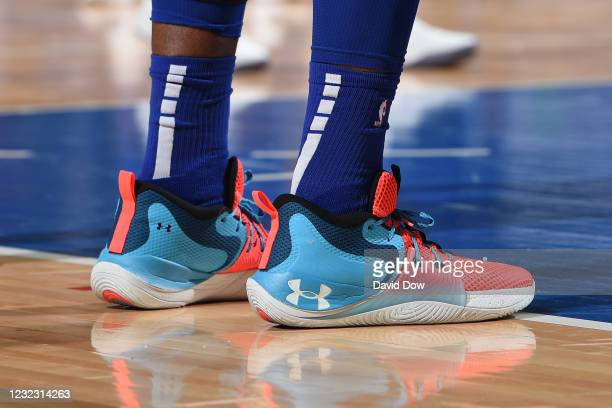 The sneakers worn by Joel Embiid of the Philadelphia 76ers on April 14, 2021 at Wells Fargo Center in Philadelphia, Pennsylvania. NOTE TO USER: User...