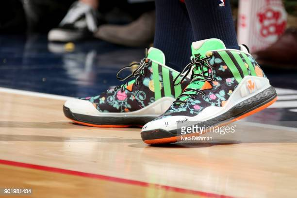 the sneakers worn by John Wall of the Washington Wizards are seen during the game against the Milwaukee Bucks on January 6 2018 at Capital One Arena...