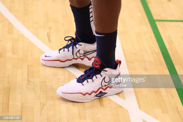 The sneakers worn by Jrue Holiday of the USA Men's National Team during USAB Mens National Team practice on July 29, 2021 in Tokyo, Japan. NOTE TO...