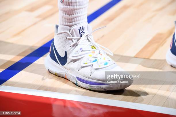 The sneakers worn by Juan ToscanoAnderson of the Golden State Warriors against the Denver Nuggets on July 10 2019 at the Thomas Mack Center in Las...