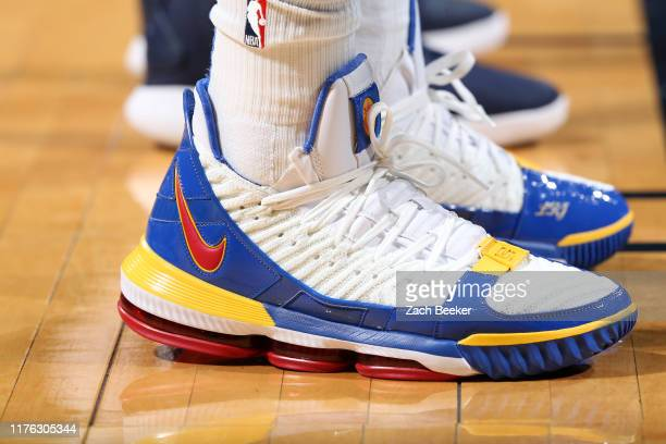 The sneakers worn by Justin Patton of the Oklahoma City Thunder during a pre-season game against the Memphis Grizzlies on October 16, 2019 at...
