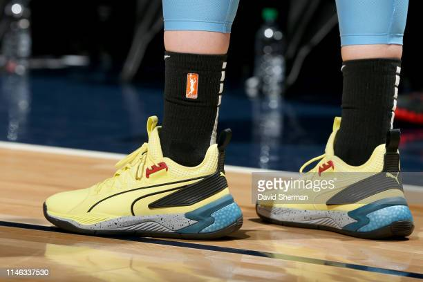 The sneakers worn by Katie Lou Samuelson of Chicago Sky during the game against the Minnesota Lynx on May 25 2019 at the Target Center in Minneapolis...