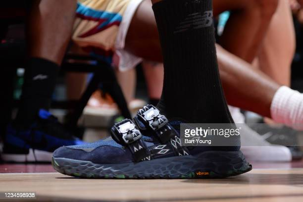 The sneakers worn by Kawhi Leonard of the LA Clippers during the 2021 Las Vegas Summer League on August 9, 2021 at the Cox Pavilion in Las Vegas,...