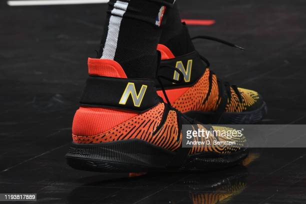 The sneakers worn by Kawhi Leonard of the LA Clippers during the game against the Cleveland Cavaliers on January 14 2020 at STAPLES Center in Los...